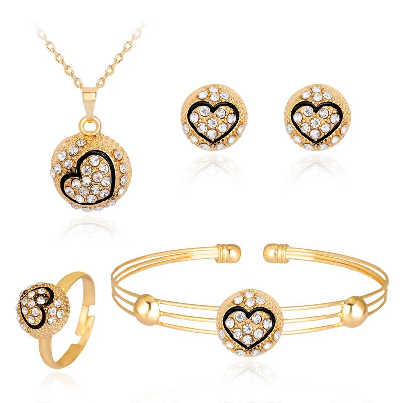 hot selling models love kc alloy plated diamond necklace earrings ring bracelet four-piece wholesale nihaojewelry NHDR225315