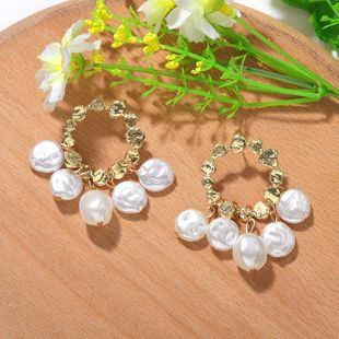 creative special-shaped pearl earrings simple irregular geometric circle tassel ear fashion earrings wholesale nihaojewelry NHJQ225321's discount tags