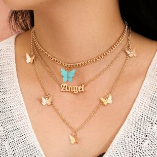 Accesorios salvajes de moda popular aleación mariposa inglés collar de tres piezas cadena de clavícula venta al por mayor nihaojewelry NHJJ225333's discount tags