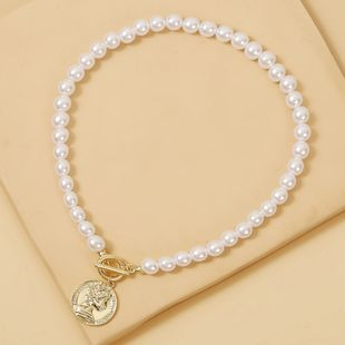 new pearl necklace coin relief head pendant necklace clavicle chain elegant wholesale nihaojewelry  NHJJ225335's discount tags