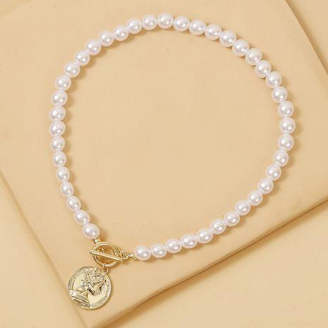Nuevo collar de perlas alivio de monedas cabeza colgante collar clavícula cadena elegante venta al por mayor nihaojewelry NHJJ225335's discount tags
