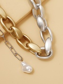 fashion alloy pearl necklace pendant twopiece clavicle chain hot sale wholesale nihaojewelry  NHJJ225337