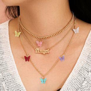 Accesorios salvajes de moda popular aleación mariposa inglés collar de tres piezas cadena de clavícula venta al por mayor nihaojewelry NHJJ225339's discount tags