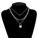 Fashion alloy lock heart necklace pendant threepiece clavicle chain hot sale wholesale nihaojewelry  NHJJ225345