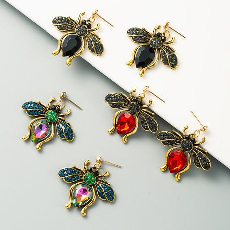 exaggerated retro temperament butterfly earrings alloy inlaid rhinestones full diamond color long atmospheric earrings wholesale nihaojewelry NHLN225357's discount tags
