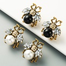 new trend retro personality bee big pearl earrings inlaid rhinestone alloy wild earrings wholesale nihaojewelry NHLN225358