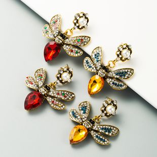 exaggerated fashion new butterfly pearl earrings alloy inlaid color diamond retro temperament wholesale nihaojewelry NHLN225365's discount tags