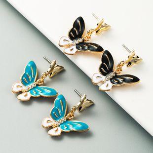 pendientes de mariposa de oro de moda pendientes de diamantes de imitación al por mayor nihaojewelry NHLN225367's discount tags