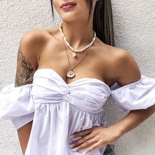 beach vacation style pearl shell necklace fashion bohemian double necklace clavicle chain wholesale nihaojewelry  NHMD225370's discount tags