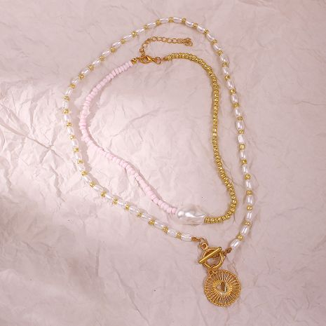 new trend jewelry creative two-color stitching pearl necklace alloy hollow pendant necklace wholesale nihaojewelry  NHMD225372's discount tags