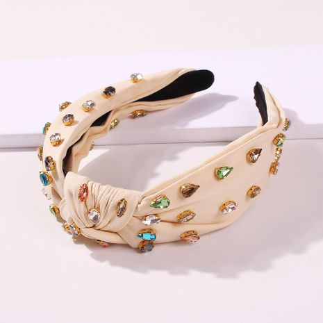 wide-brimmed fabric headband fashion colored glass diamond knotted headband wild hair accessories wholesale nihaojewelry NHMD225377's discount tags