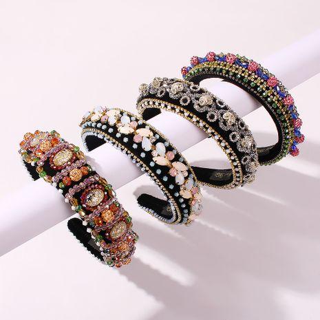diamond headband retro baroque crystal thick sponge hair accessories wholesale nihaojewelry NHMD225379's discount tags