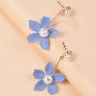 fashion simple Korean cute  new color flowers pearl earrings wholesale nihaojewelry NHMD225385's discount tags