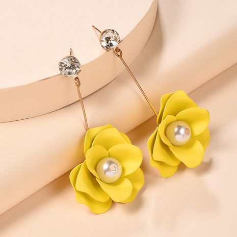 new floral jewelry creative fashion color alloy spray paint flowers earrings wholesale nihaojewelry NHMD225386's discount tags