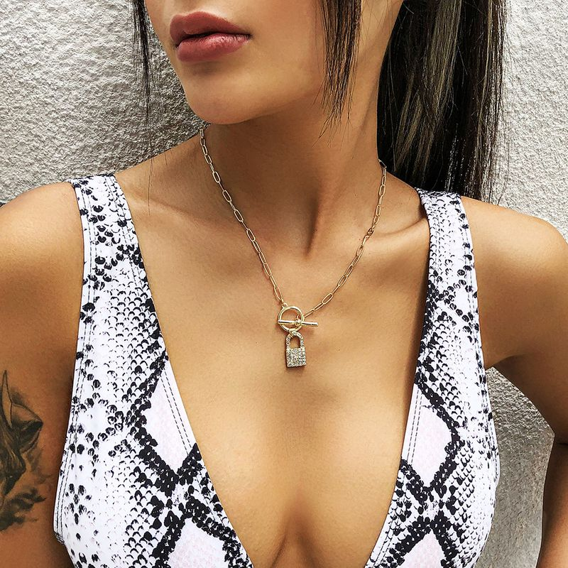 new jewelry fashion creative alloy lock diamond pendant punk style word buckle necklace wholesale nihaojewelry  NHMD225387
