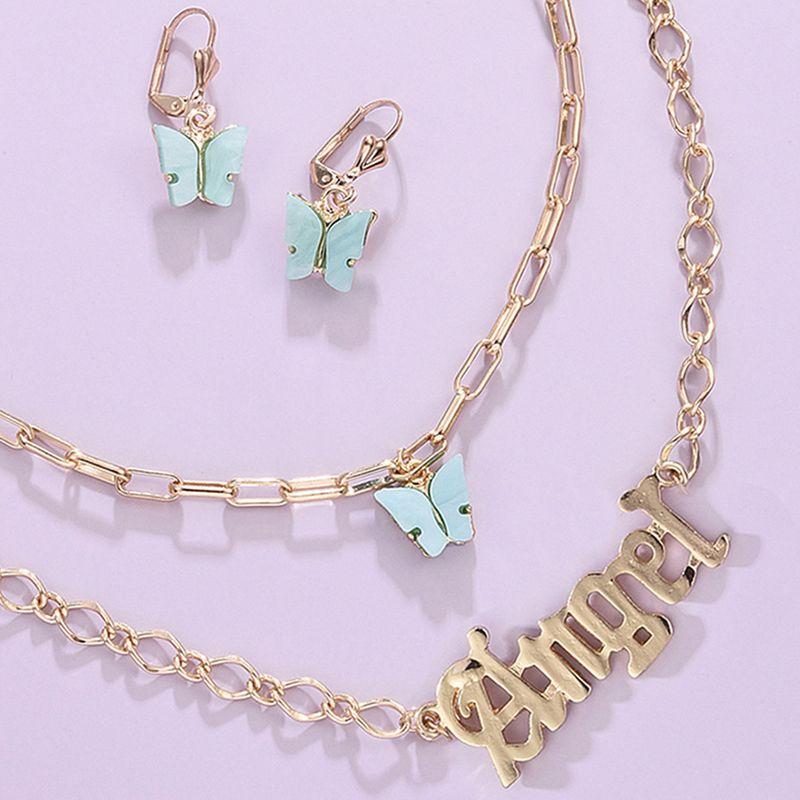 New Jewelry Set Bohemian Multilayer Butterfly Pendant Alphabet Necklace wholesale nihaojewelry  NHMD225397