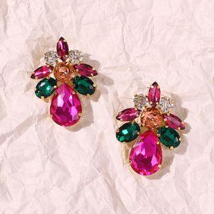 fashion new trend jewelry color drop-shaped glass diamond fashion earrings wholesale nihaojewelry NHMD225398's discount tags