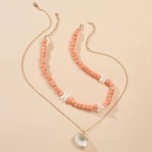 summer resin necklace creative beach series shell pendant necklace set wholesale nihaojewelry  NHMD225406's discount tags