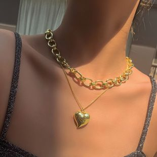 fashion jewelry punk alloy necklace fashion heart pendant metal texture suit necklace wholesale nihaojewelry NHMD225411's discount tags