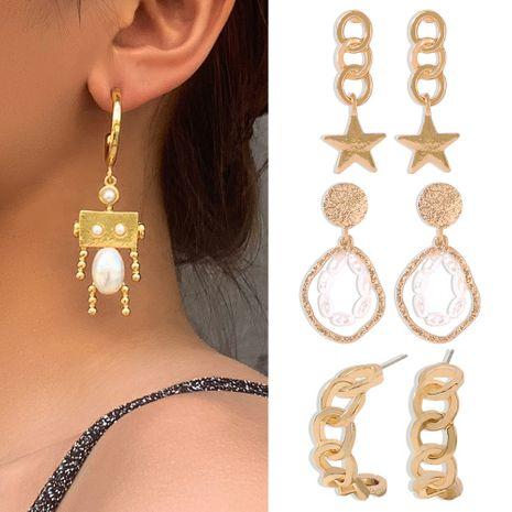geometric multi-element earrings creative minimalist niche design pearl earrings wholesale nihaojewelry NHMD225412's discount tags