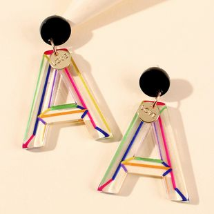 fashion acetate plate letter earrings creative color stripes geometric leaves earrings wholesale nihaojewelry NHMD225413's discount tags