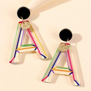 mode plaque d'acétate boucles d'oreilles lettre rayures de couleur créative feuilles géométriques boucles d'oreilles en gros nihaojewelry NHMD225413