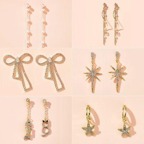 New fashion cute chain tassel temperament diamond long earrings jewelry earrings wholesale nihaojewelry NHGY225415's discount tags