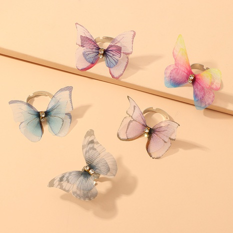 anneaux de papillon bijoux de mode double diamant tulle bague papillon en gros nihaojewelry NHNZ225419's discount tags