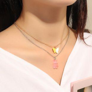 joyería de moda dulce y lindo collar de oso rosa temperamento marea mariposa collar conjunto al por mayor nihaojewelry NHNZ225422's discount tags
