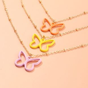 joyería de moda nuevo collar de mariposa de goteo de color caramelo simple cadena de clavícula popular salvaje al por mayor nihaojewelry NHNZ225424's discount tags