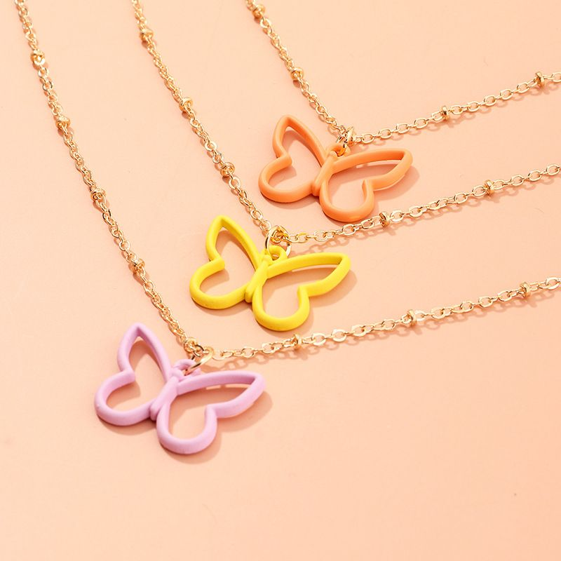 fashion jewelry new simple candy color dripping butterfly necklace wild popular clavicle chain wholesale nihaojewelry NHNZ225424