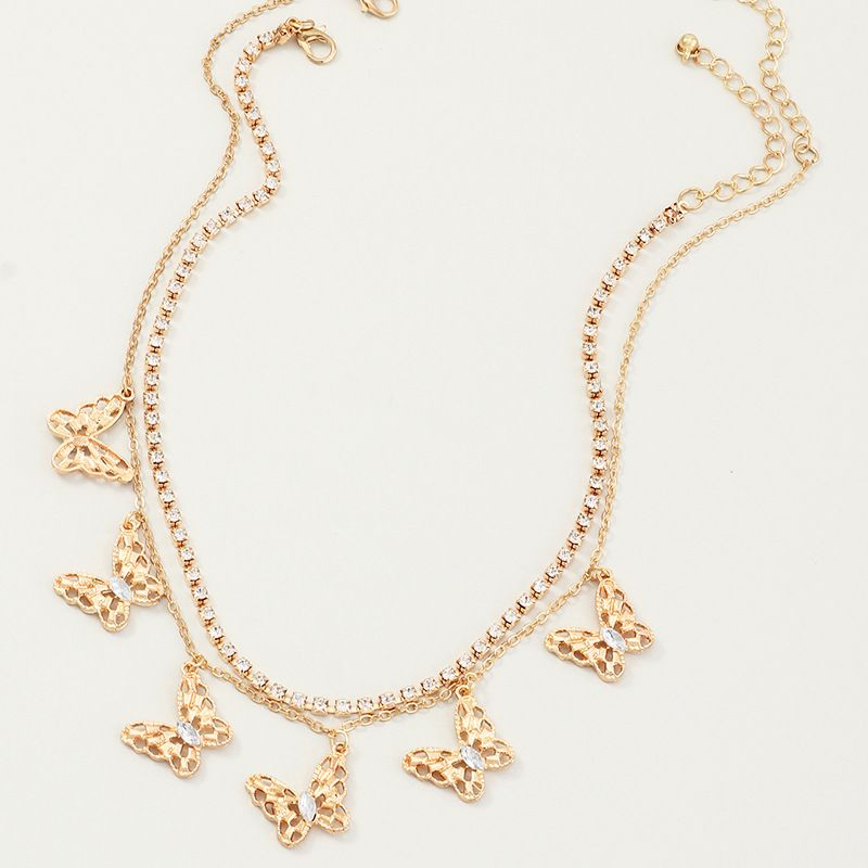 new jewelry three-dimensional hollow butterfly necklace diamond choker clavicle chain wholesale nihaojewelry NHNZ225425