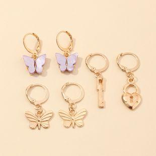 joyería de moda retro moda metal cerradura llave pendientes conjunto al por mayor nihaojewelry NHNZ225426's discount tags
