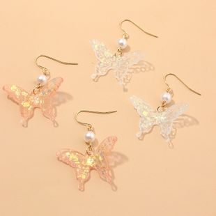 fashion jewelry colorful translucent acrylic butterfly earrings pearl ear hooks wholesale nihaojewelry NHNZ225430's discount tags