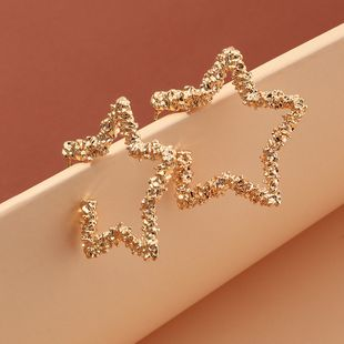 fashion jewelry bump texture five-pointed star metal earrings wholesale nihaojewelry NHNZ225432's discount tags