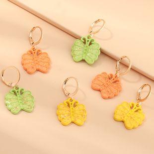 joyería de moda nuevos pendientes de mariposa de pintura táctil de color sólido simple al por mayor nihaojewelry NHNZ225435's discount tags