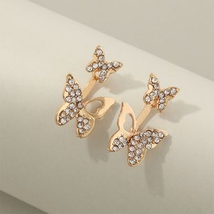 fashion jewelry double wearing after hanging diamond inlaid butterfly earrings wholesale nihaojewelry NHNZ225440's discount tags