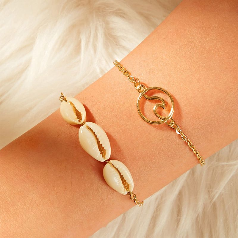 fashion jewelry marine series natural shell bracelet wild simple wave pendant jewelry wholesale nihaojewelry NHNZ225441