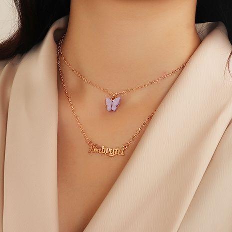 fashion jewelry new alphabet item decoration feminine butterfly necklace wholesale nihaojewelry NHNZ225443's discount tags