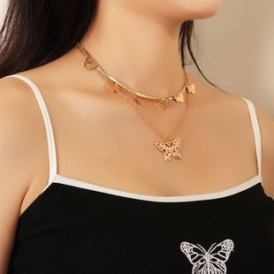 Nueva joyería de la mariposa simple cadena de clavícula de múltiples capas collar de mariposa hueco salvaje al por mayor nihaojewelry NHNZ225444's discount tags