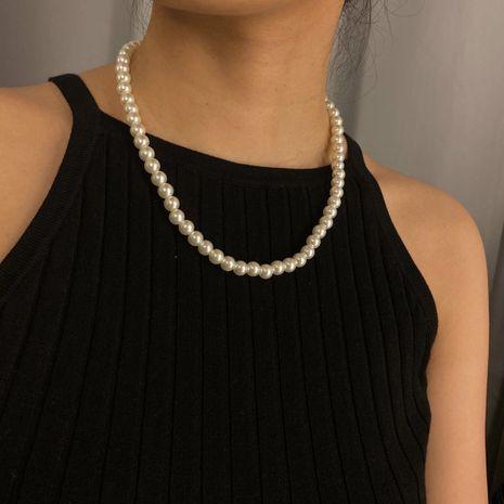 joyería de moda simple geométrica collar de cuentas redondas salvajes temperamento de borla de una sola capa collar de perlas de imitación hecho a mano nihaojewelry al por mayor NHXR225446's discount tags