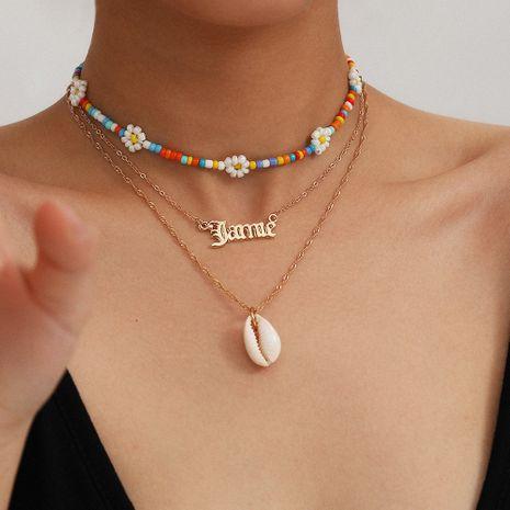 bijoux de mode lettres simples mélanger et assortir collier de perles de couleur fait à la main océan vent shell riz collier de perles en gros nihaojewelry NHXR225454's discount tags