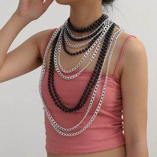 fashion jewelry personality retro chain beaded necklace exaggerated multi-layer suit handmade round bead necklace wholesale nihaojewelry NHXR225459's discount tags