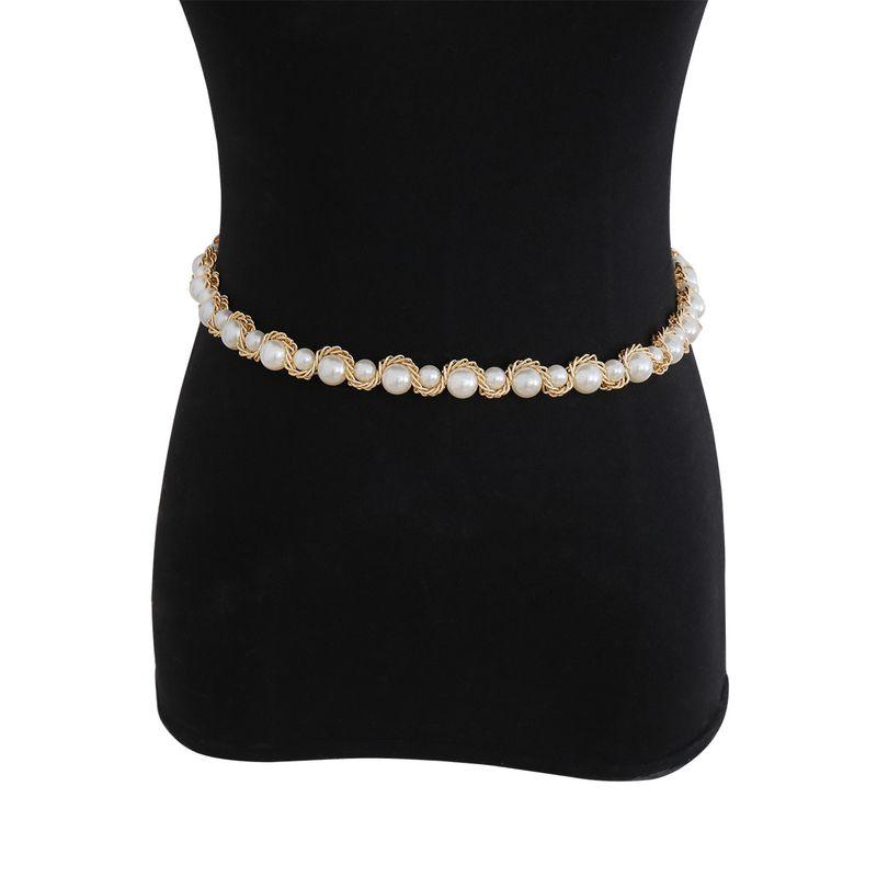 fashion jewelry temperament geometric single-layer wild body chain creative handmade imitation pearl clip chain waist chain wholesale nihaojewelry NHXR225466