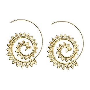 exaggerated swirl gear-shaped earrings circle spiral ear jewelry wholesale gold and silver wholesale nihaojewelry NHPJ225467's discount tags