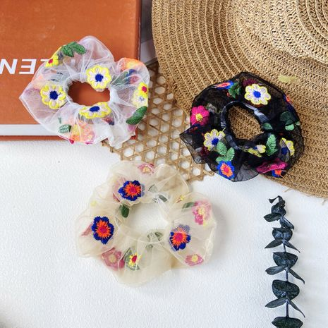 hair scrunchies chiffon flower mesh gauze intestine circle girl heart large intestine hair circle head rope hair accessories wholesale nihaojewelry NHPJ225470's discount tags