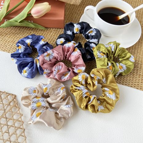 korean Small daisy hair scrunchies cute girl retro port style fat bowel bow tie hair rope wholesale nihaojewelry NHPJ225471's discount tags