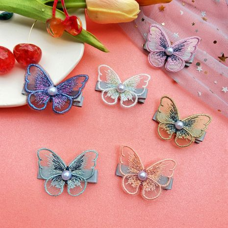 Fairy hair clip Korean pearl embroidery butterfly bangs clip mesh decorative clip girl side clip hair accessories wholesale nihaojewelry NHPJ225472's discount tags