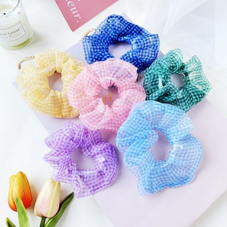 gauze lattice hair scrunchies ball hair rope tail hair rope circle Korean hair accessories wholesale nihaojewelry NHPJ225474's discount tags