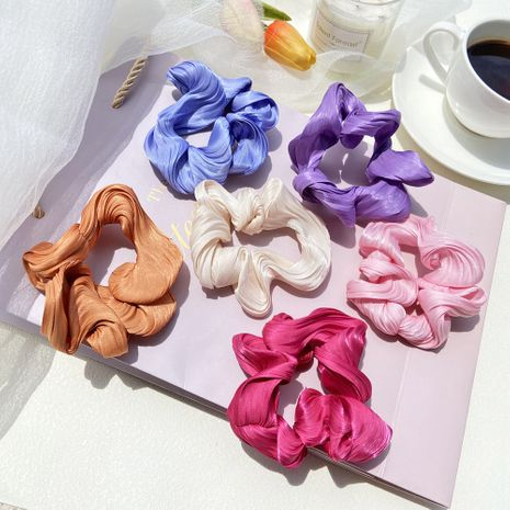 korean hair scrunchies fashion new solid color flash wave lady  hair ring tie horsetail rubber band hair rope head wholesale nihaojewelry NHPJ225475's discount tags